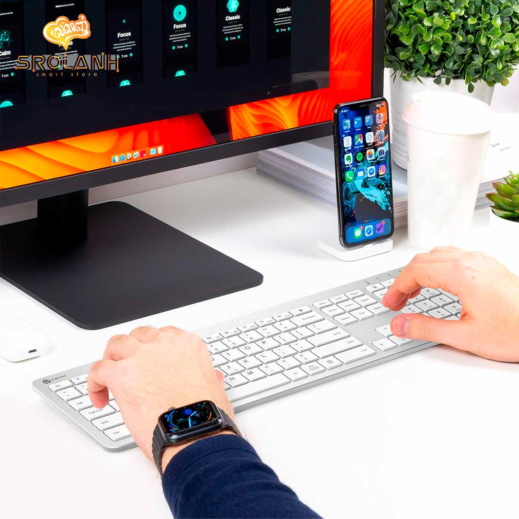 iClever Multi-Device Connection Rechargeable Slim Keyboard Included Keyboard Protector