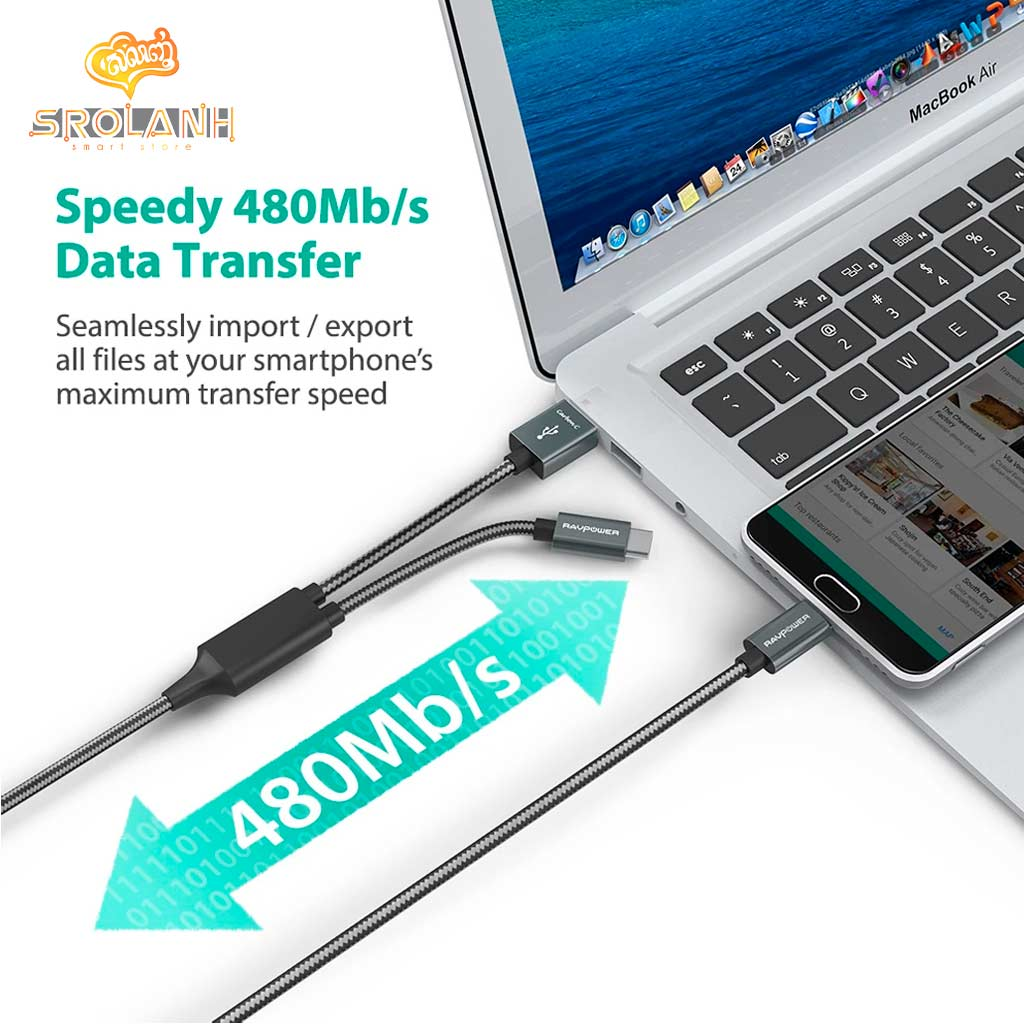 RAVPOWER 2 in 1 1m/3.3ft USB-C to USB-A/USB-C Cable