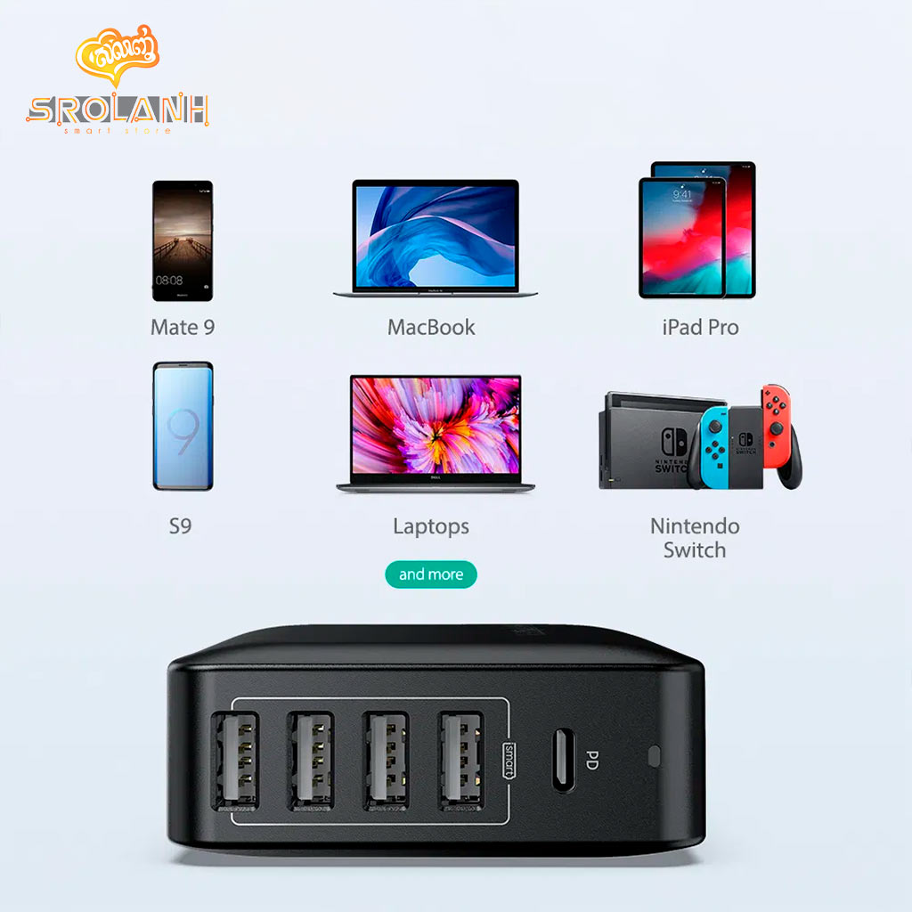 RAVPOWER PD Pioneer 60W 5-Port Wall Charger USB PD Up to 45W RP-PC059