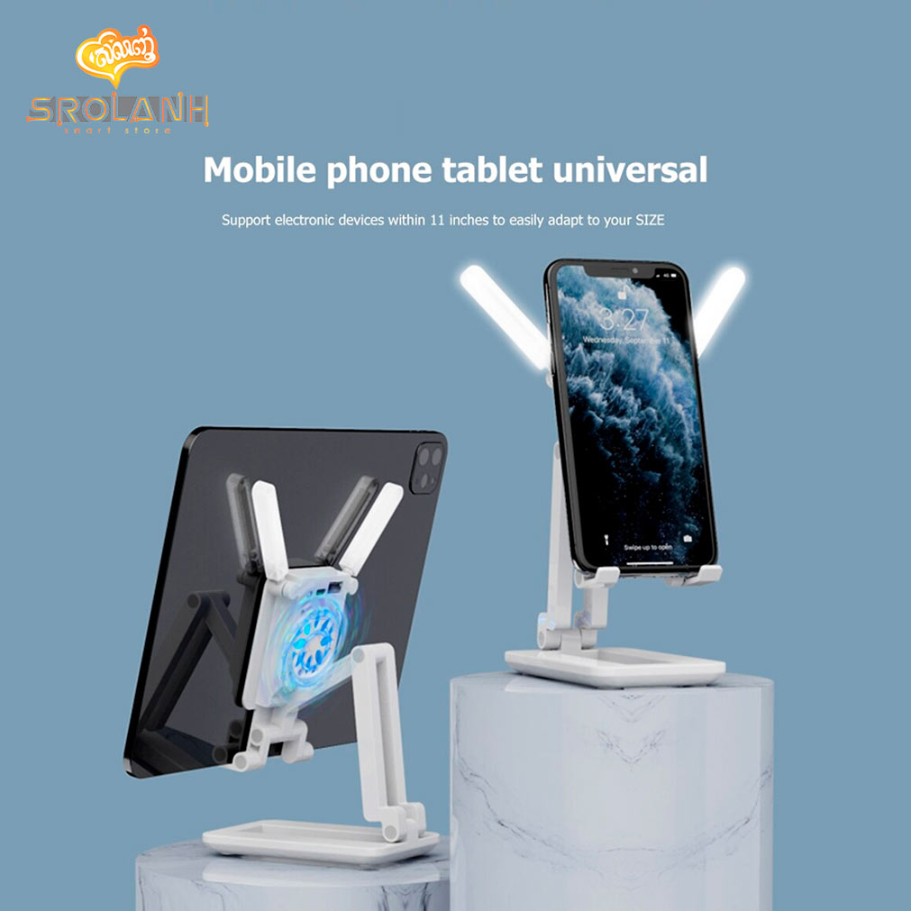 Foldablefill Light And Cooling Desk Holder Used For ipad And Phone F6