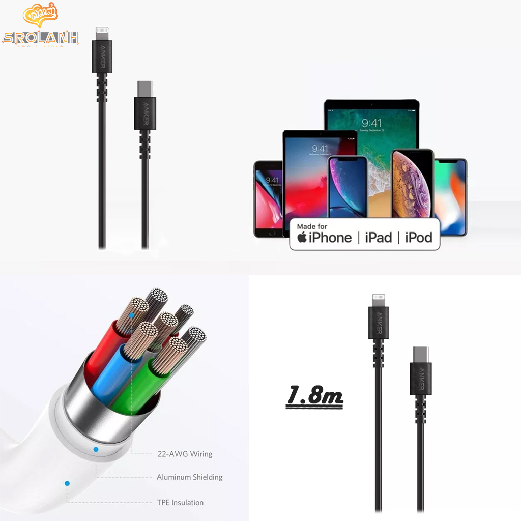 ANKER Power Line Select USB-C to Lightning Connector 6ft/1.8m