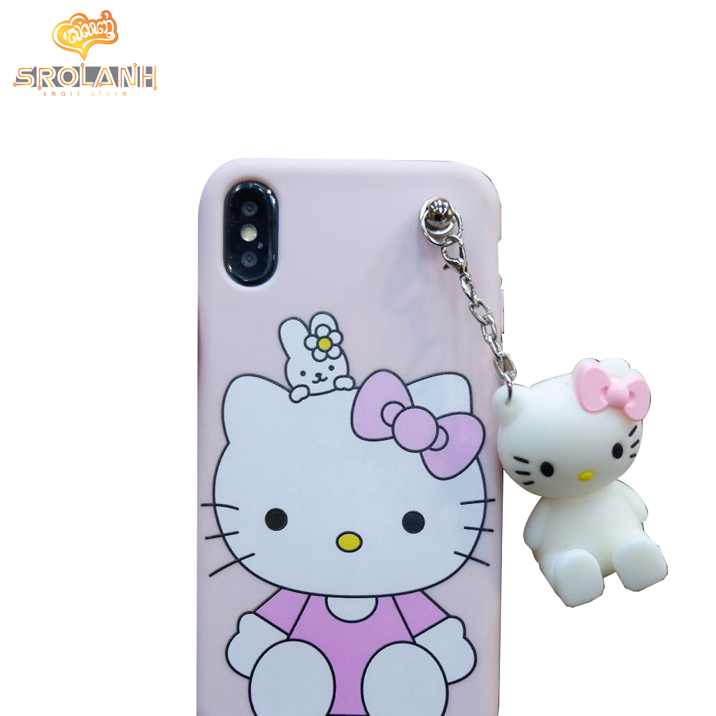 Classic case hello kitty with cartoon chains for iphone X