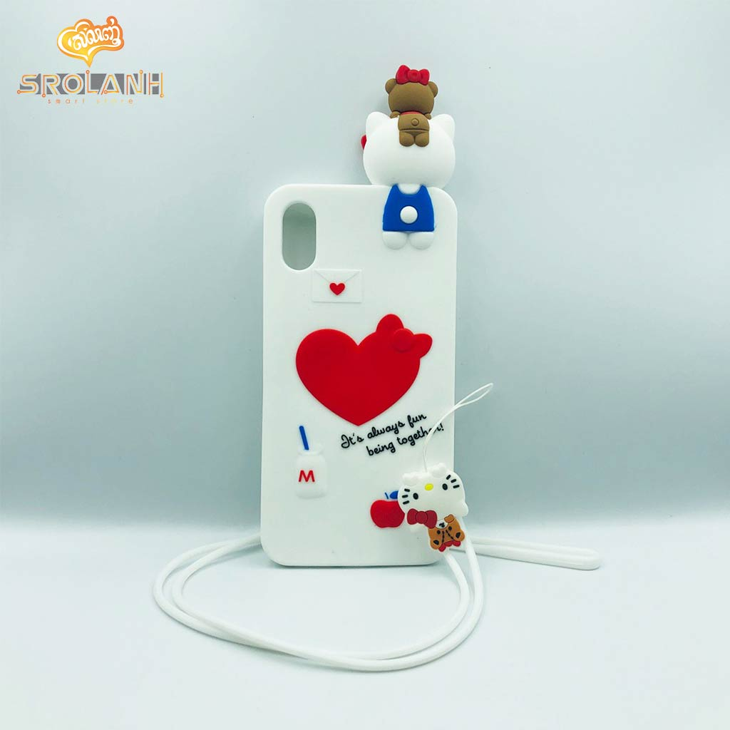 Cartoon Soft Case with lanyard fun being together for Iphone X